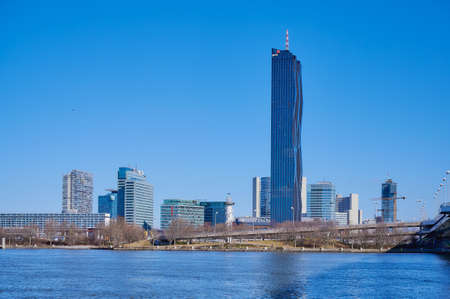 Vienna, Austria - Feb 20, 2020: Donaustadt Danube City is a modern quarter with skyscrapers and business centres in Vienna, Austria.