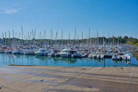 Port-la-Foret, Brittany, France - July 09, 2019: harbor of Port-la-Foret in Brittany, France Editorial