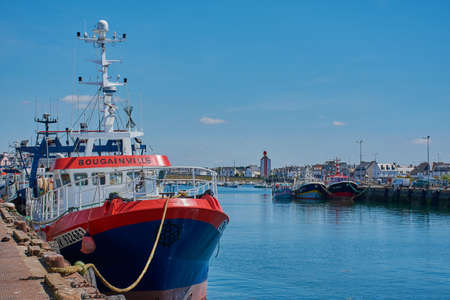 Guilvinec, Brittany, France - July 08, 2019: Fishing boats in the harbor of Guilvinec. Editorial