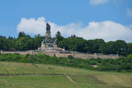 Rudesheim, Germany on May 26, 2019: Niederwalddenkmal is a monument located in the Niederwald near Rudesheim am Rhein in Hesse