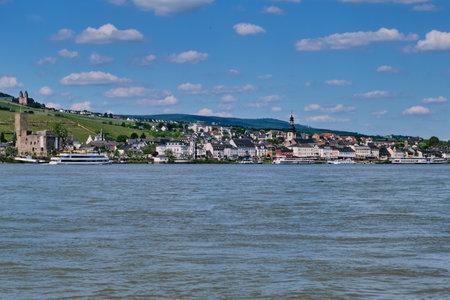 Ruedesheim, Germany - May 26, 2019: city panorama of Ruedesheim at the river rhine Editorial