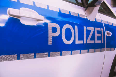 Mainz, Germany -October 02, 2019: Polizei is the German word for police, here written on a German police car in Mainz