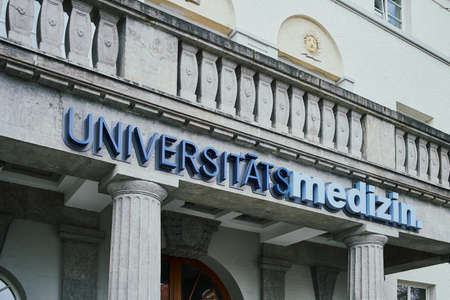 MAINZ, GERMANY - March 29, 2019: Blue sign over the entrance of the University Medical Center of the Johannes Gutenberg University Mainz. Editorial