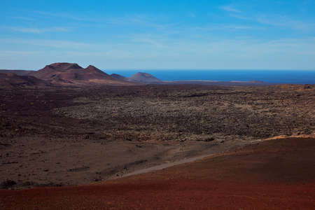 volcanic landscape of Timanfaya National Park in Lanzarote, Spain