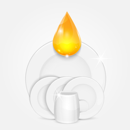 bathe mug: set of clean dishes and yellow drop.dishwashing liquid on the background plates and cup.vector Illustration
