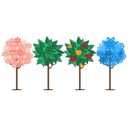 leafage: seasons.four trees depicting times of the year.trees isolated on white background.vector