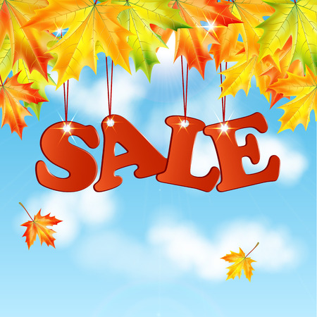 seasonal autumn sale.word sale autumn maple leaves against the blue sky with white clouds.vector