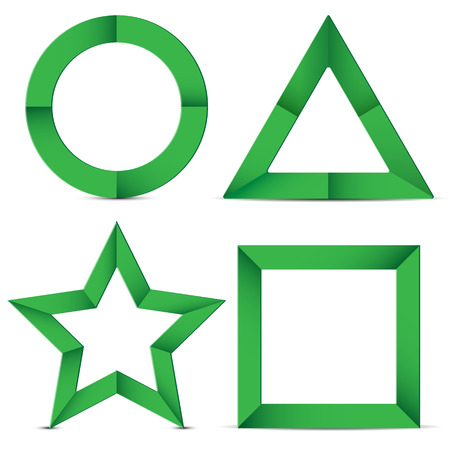 set of geometric shapes of green color on a white background.shapes of paper.origami.vector