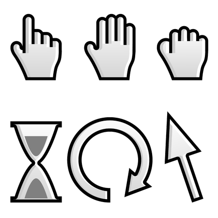 handbreadth: Web hand and arrow cursor with hour-glass.vector Illustration