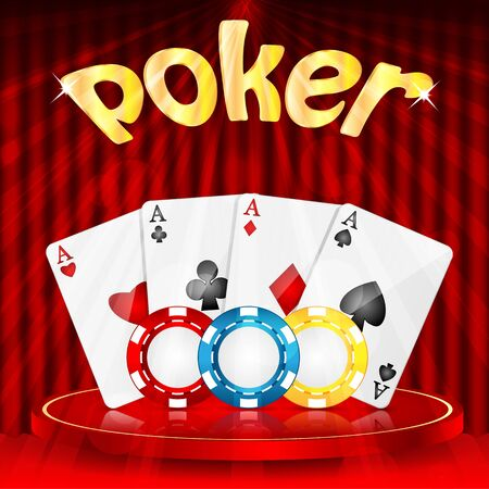 drapes: casino background.set of objects for a casino on a background of red drapes.vector