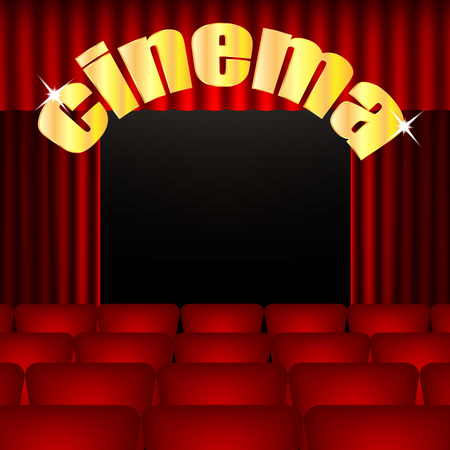 cinema background.illustration cinema hall with red chairs and curtains.movie theater.vector