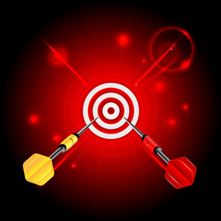 darts on red glittering background.target and darts.neon effect.vector