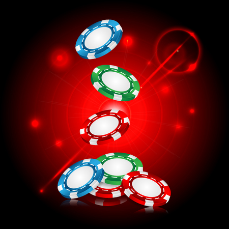 casino background .chips on a red background flickering.vector