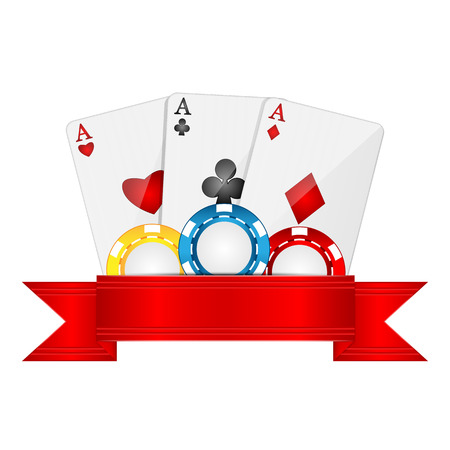 cheques: playing cards and casino chips isolated on white background.objects for gambling.Items for poker.vector
