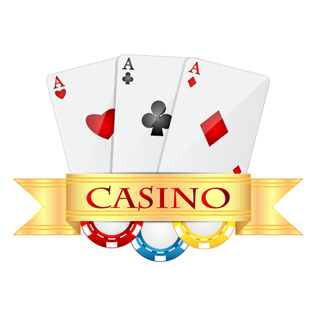 playing cards and casino chips isolated on white background.objects for gambling.Items for poker.vector
