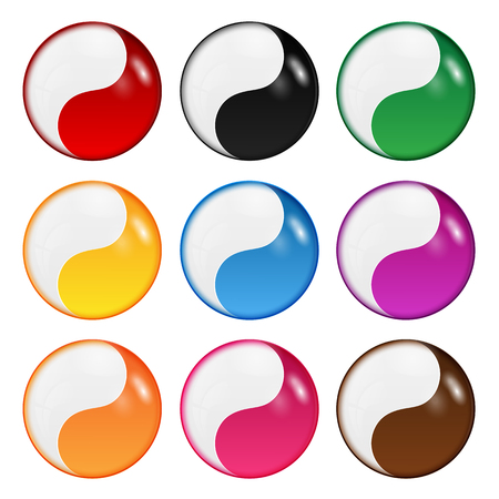 set of symbols of yin-yang of different colors.collection of multicolored round shapes isolated on white background.vector