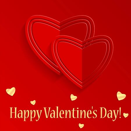 dearness: Background Valentines Day.red and gold hearts on a red background.felicitation.vector Illustration