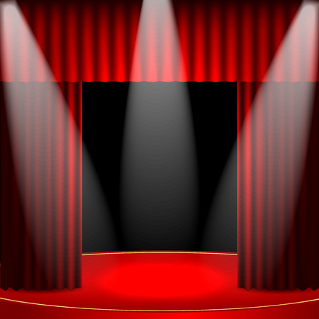 theatrical background.scene and red curtains.Interior for the theater and cinema.scene illuminated floodlights.vector Illustration