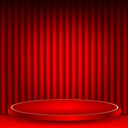exhibit houses: theatrical background.scene and red curtains.red podium on a background of red drape curtains.Interior for the theater and exhibitions.vector