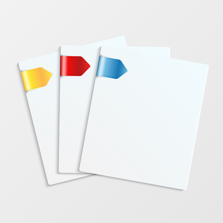 neckband: set of white sheets of paper with colorful bookmarks.paper for notes.stationery.vector Illustration