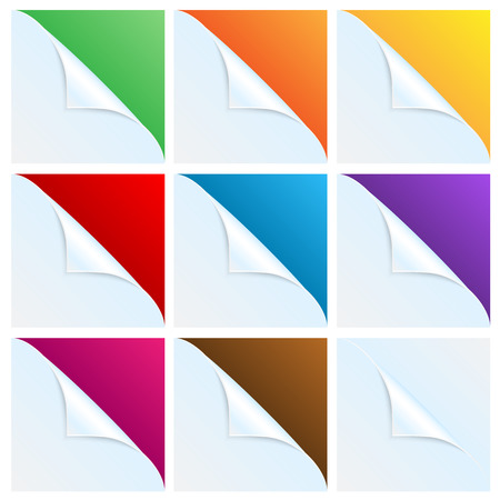 pulp: set of angles of white paper with a colored background.white corners.vector Illustration