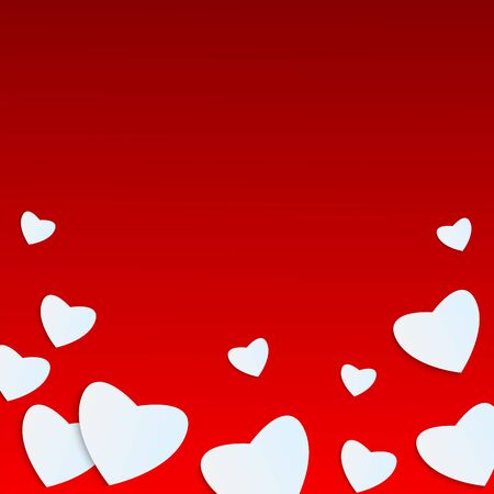 felicitation: Background Valentines Day.white heart on a red background.hearts of different sizes of paper.vector