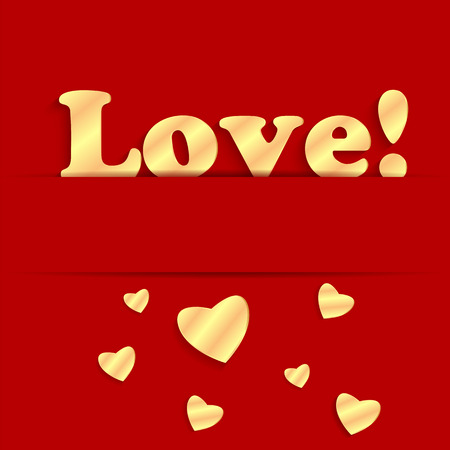 Background Valentines Day.gold hearts on a red background.golden hearts of different sizes and the word love.  vector