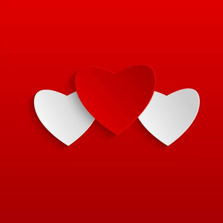 Background Valentines Day.red and white  hearts on  red background.paper hearts.vector