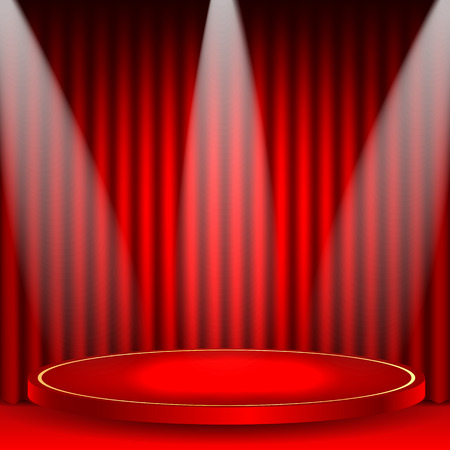 theatrical background.scene and red curtains.scene illuminated floodlights.red podium on a background of red drape curtains.vector
