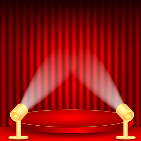 dramatics: theatrical background.scene and red curtains.scene illuminated floodlights.red podium on a background of red drape curtains.vector