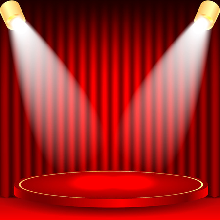 portiere: theatrical background.scene and red curtains.scene illuminated floodlights.red podium on a background of red drape curtains.vector