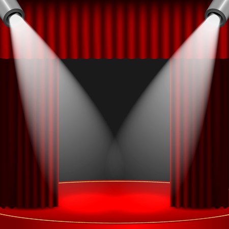 portiere: theatrical background.scene and red curtains.scene illuminated floodlights.vector