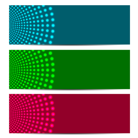 medley: set of abstract banners.colorful background with glowing circles.vector