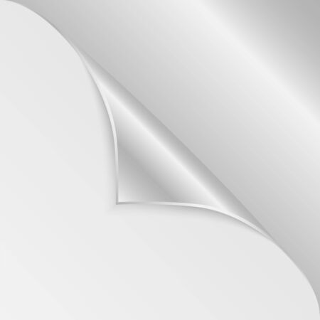 jotter: blank sheet of paper with the curved  silver corner.clean sheet for posting information.vector Illustration