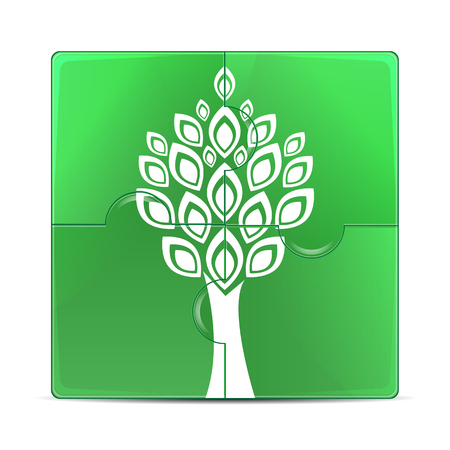 eco icon.green puzzle with the image of a white tree.puzzles with a plant isolated on white background.vector