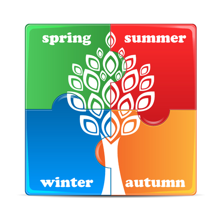 medley: puzzle with the image of seasons.icon times of the year isolated on white background.vector Illustration
