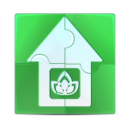 erection: green puzzle with the image of the house.eco icon isolated on a white background.vector