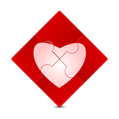 dearness: puzzle with the image of a pink heart on a red background.illustration of Valentines Day.puzzle game isolated on white background.vector