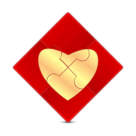 dearness: puzzle with the image of a gold heart on a red background.illustration of Valentines Day.puzzle game isolated on white background.vector