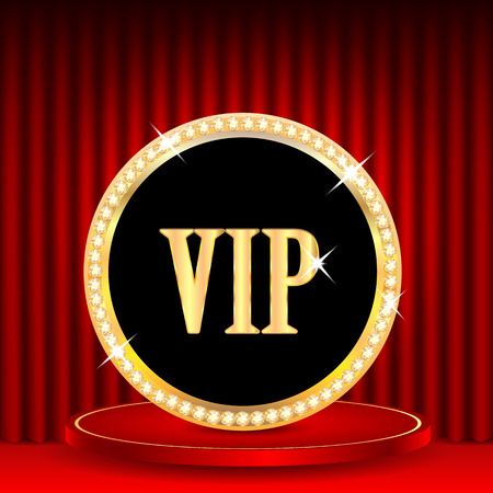 portiere: icon in gold with jewels and the word vip.VIP mark on the podium on a background of red portieres.vector