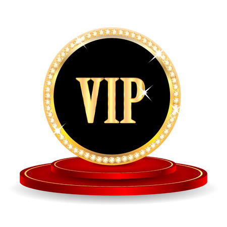 VIP mark on a red podium isolated on white background.VIP mark in gold with jewels.vector