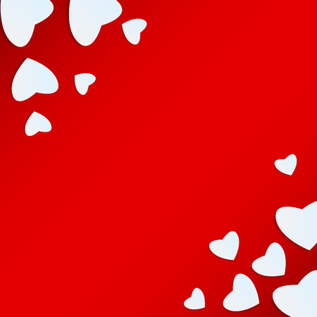 Background Valentines Day.white heart on a red background.hearts of different sizes of paper.vector