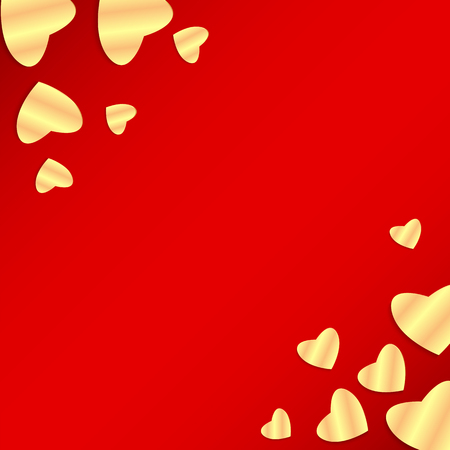 Background Valentines Day.golden heart on a red background.hearts of different sizes of golden paper.vector Illustration