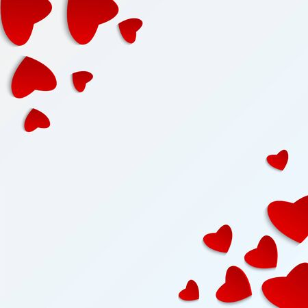 Background Valentines Day.red heart on a  white background.hearts of different sizes of paper.vector