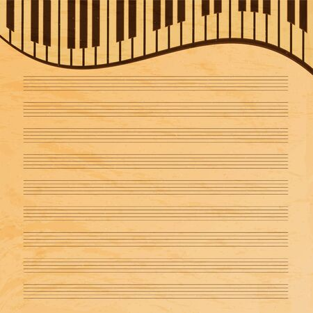 sketchpad: music paper decorated with keys.old music paper.grunge effect.musical background.vector Illustration