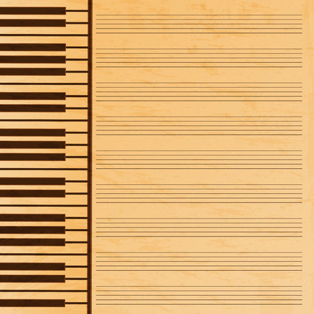 operetta: music paper decorated with keys.old music paper.grunge effect.musical background.vector Illustration