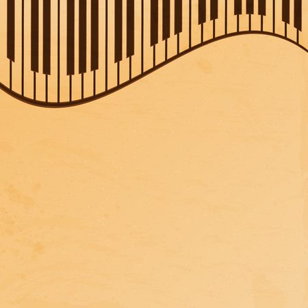 operetta: piano keys on a beige grungy background.old music paper.grunge effect.musical background.vector