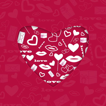 background for Valentines Day.red heart with a white pattern of different holiday symbols.vector Illustration