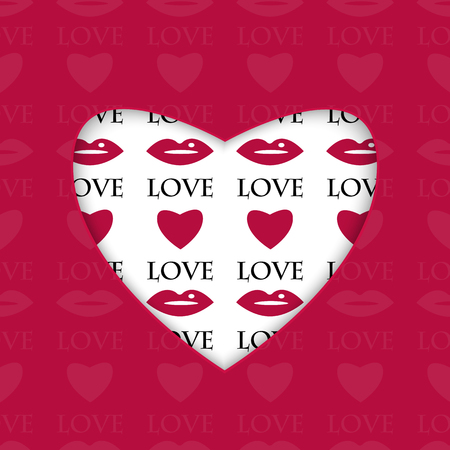 amative: background for Valentines Day.white heart with a pattern of red hearts and lips.vector