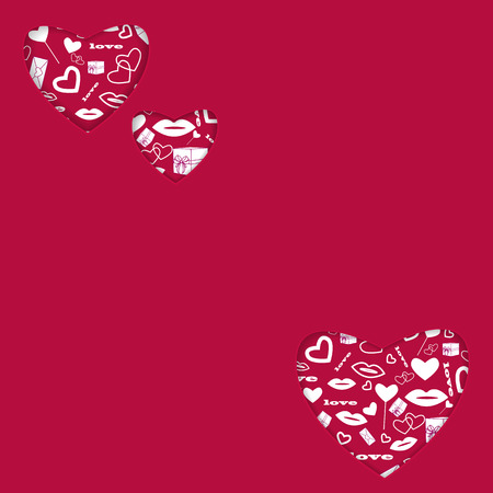 background for Valentines Day.hearts of different sizes with a white pattern.red background with hearts for greeting card.vector Illustration